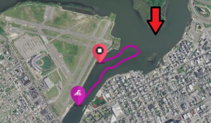 The purple line is the route I swam. The red arrow is where the original swim route turned around.